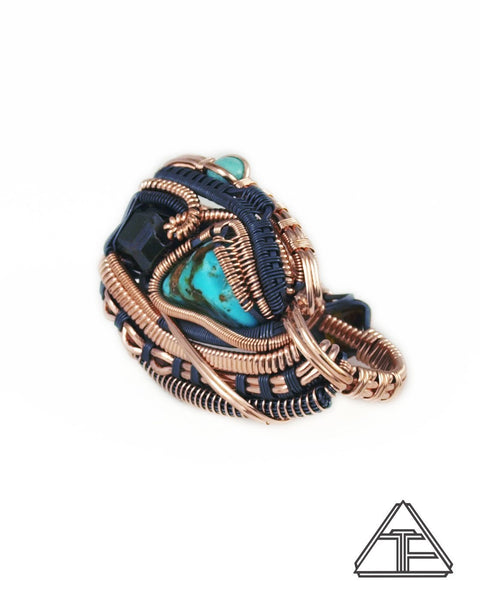 Size 9 and 10 - Turquoise Andradite Garnet Rose Gold and Silver Wire Wrapped Double Ring