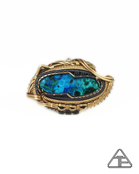 Size 7 and 7.5 - Azure-Malachite Yellow Gold and Titanium Wire Wrapped Double Ring