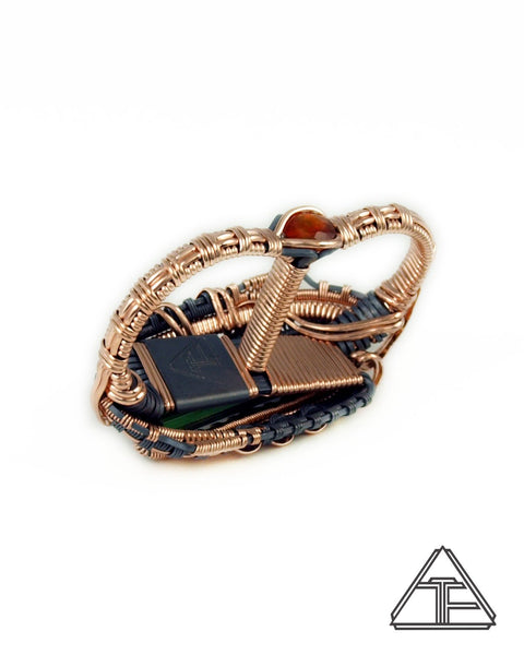 Size 9.5 and 10.5 - Cruzeiro Tourmaline Rose Gold and Silver Wire Wrapped Double Ring