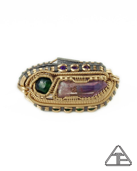 Size 8.5 and 9 - Amethyst Demantoid Garnet Yellow Gold Titanium Wire Wrapped Double Ring