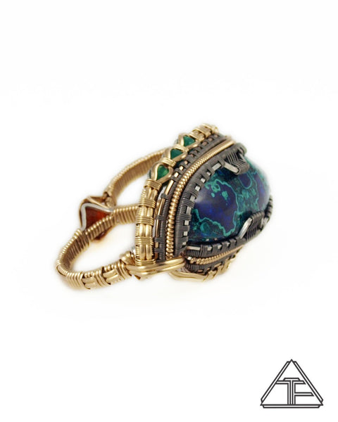 Size 11 and 12.5 - Azure-Malachite Yellow Gold and Titanium Wire Wrapped Double Ring