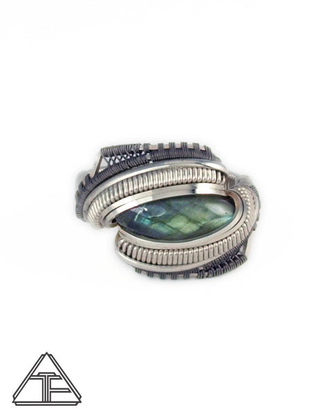 Size 9.5 - Labradorite Titanium and Silver Wire Wrapped Ring