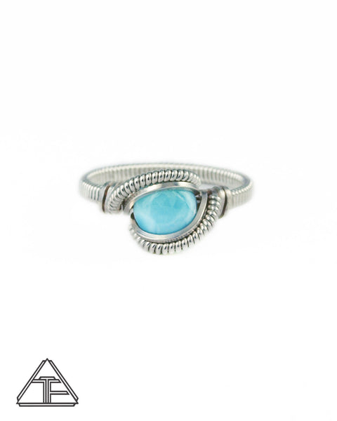 Size 7.5 - Larimar and Sterling Silver Wire Wrapped Ring