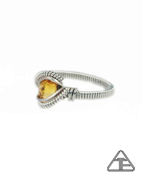 Size 6.5 - Citrine and Sterling Silver Wire Wrapped Ring
