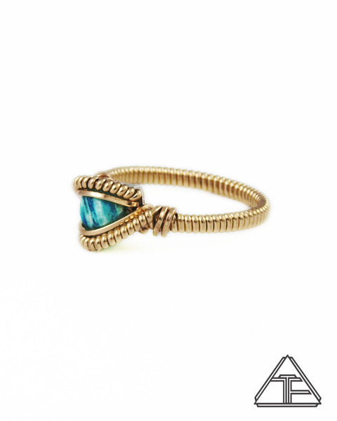 Size 5 - Amazonite and Yellow Gold Wire Wrapped Ring