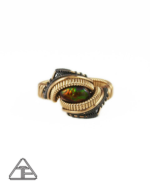Size 8.5 - Fire Agate Yellow Gold and Titanium Wire Wrapped Ring