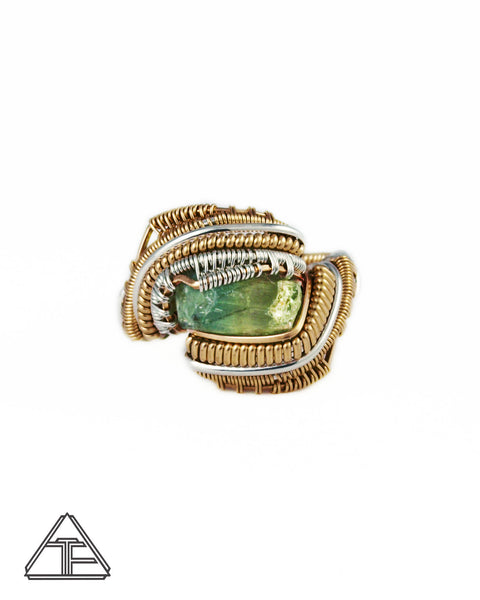 Size 7 - Bi-Color Tourmaline Yellow Gold and Sterling Silver Wire Wrapped Ring