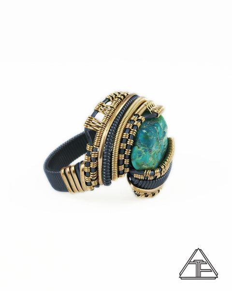 Size 10.5 - Turquoise Yellow Gold and Sterling Silver Wire Wrapped Ring