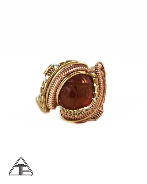 Size 10.5 - Carnelian Scarab Carving Rose and Yellow Gold Wire Wrapped Ring
