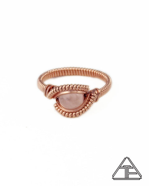 Size 6.5 - Rose Quartz and Rose Gold Wire Wrapped Ring