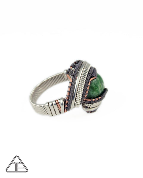 Size 12 - Jade Rose Gold Sterling Silver and Titanium Wire Wrapped Ring