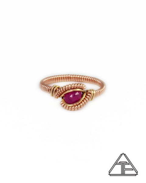 Size 6 - Ruby Rose Gold and Yellow Gold Wire Wrapped Ring