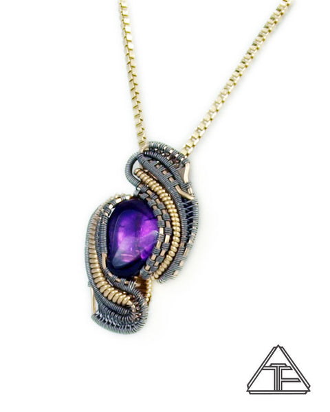 Amethyst Yellow Gold and Titanium Wire Wrapped Pendant