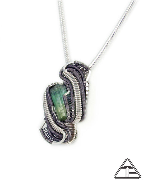 Tourmaline Sterling Silver and Titanium Wire Wrapped Pendant
