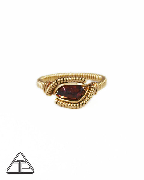Size 7 - Garnet and Yellow Gold Wire Wrapped Ring