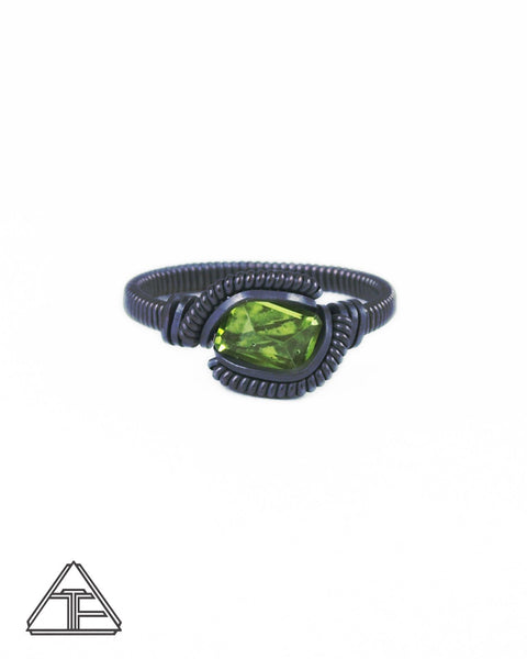 Size 7.5 - Peridot and Sterling Silver Wire Wrapped Ring