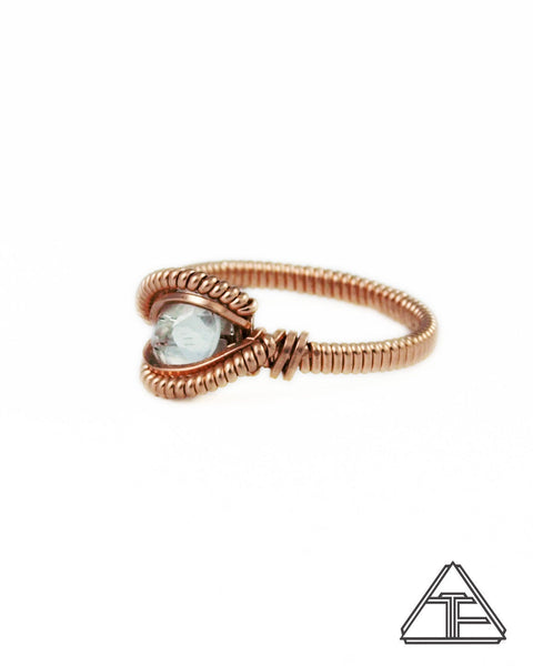 Size 7 - Topaz Rose Gold Wire Wrapped Ring