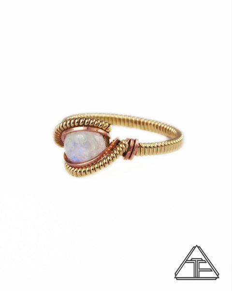 Size 7 - Moonstone Rose and Yellow Gold Wire Wrapped Ring