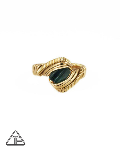 Size 7.5 - Tourmaline Yellow Gold Wire Wrapped Ring