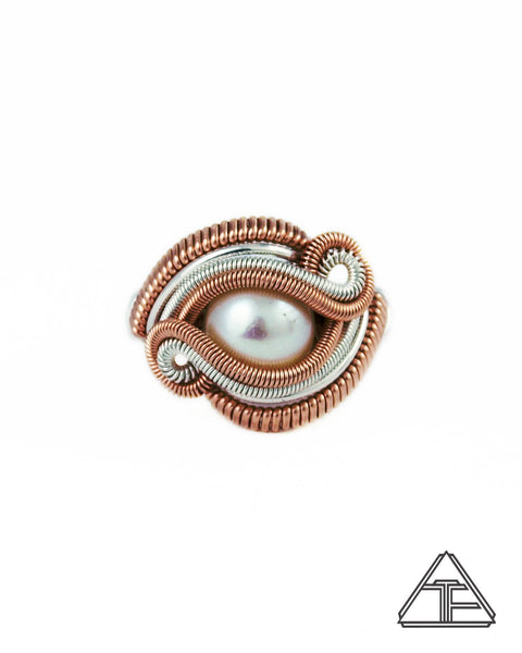 Size 6.5 - Pearl Rose Gold & Silver Wire Wrapped Ring