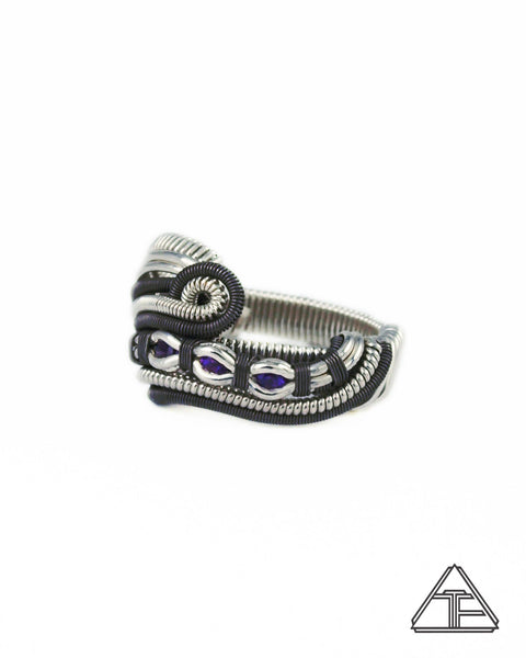 Size 7 - Amethyst Silver and Titanium Three Sisters Wire Wrapped Ring