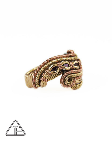 Size 6 - Garnet Rose and Yellow Gold Three Sisters Wire Wrapped Ring