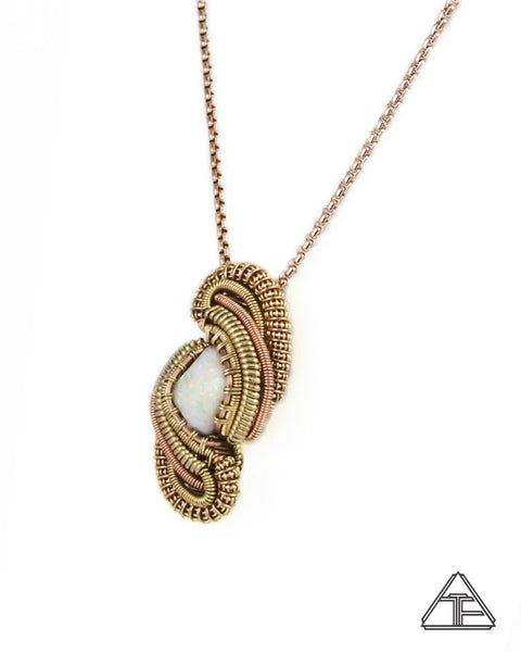 Australian Opal Yellow and Rose Gold Wire Wrapped Pendant