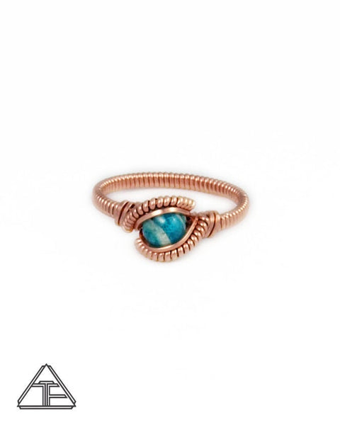 Size 4.5 - Amazonite and Rose Gold Wire Wrapped Ring