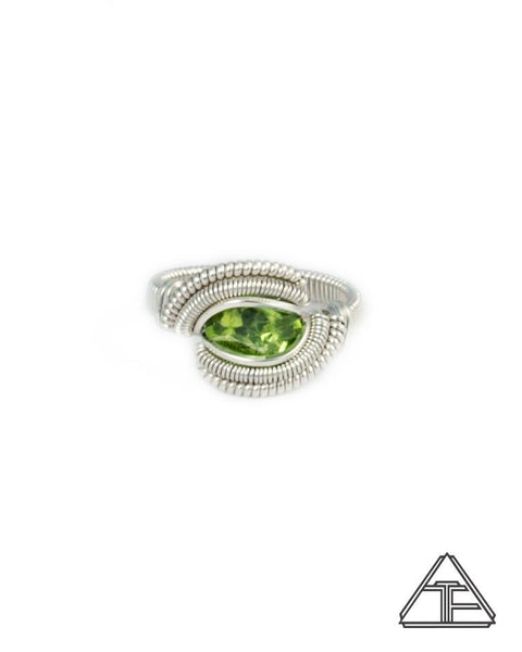 Size 5 - Peridot and Sterling Silver Wire Wrapped Ring