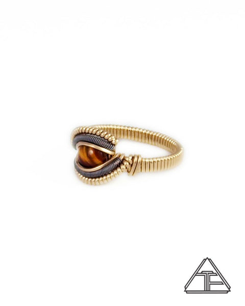 Size 6 - Tigers Eye Yellow Gold and Titanium Wire Wrapped Ring