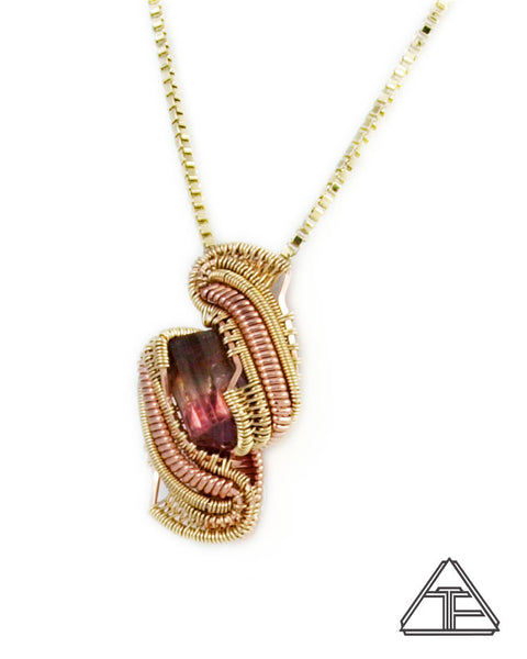 Multi-Color Tourmaline Rose Gold and Yellow Gold Wire Wrapped Pendant
