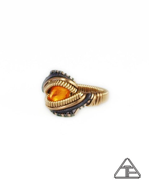 Size 5.5 - Fire Opal Yellow Gold and Titanium Wire Wrapped Ring