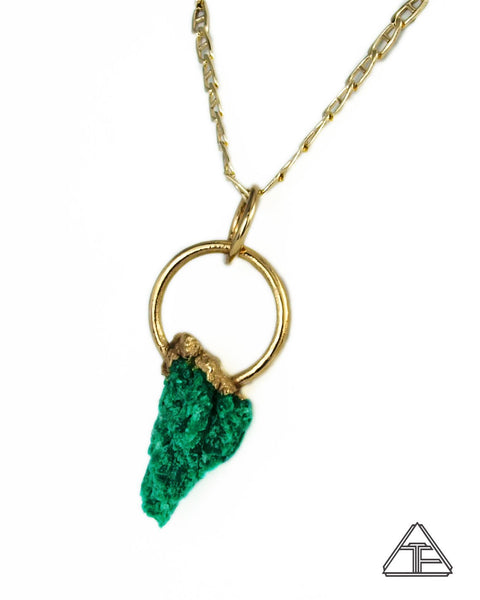 Raw Acid Etched Emerald 14K Yellow Gold Crystal Talisman Pendant