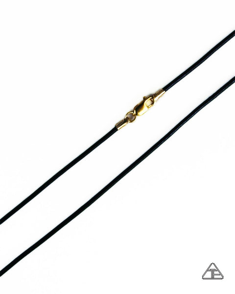 Black Leather Cord Necklace 14K Yellow Gold Clasp