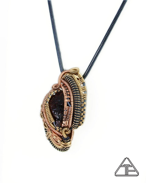 Acid Etched Garnet Yellow Gold and Rose Gold Wire Wrapped Pendant