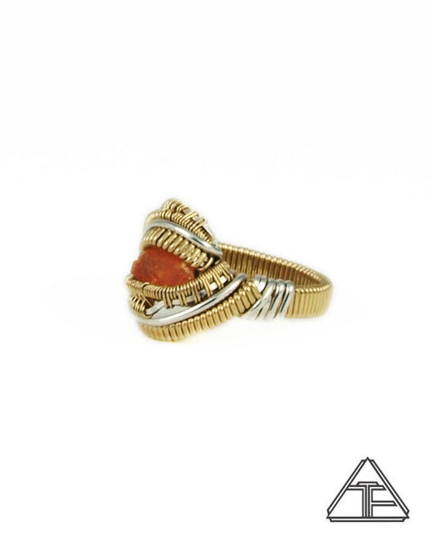 Size 7 - Hessonite Garnet Yellow Gold and Silver Wire Wrapped Ring
