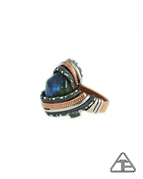 Size 9.5 - Labradorite Rose Gold and Titanium Wire Wrapped Ring