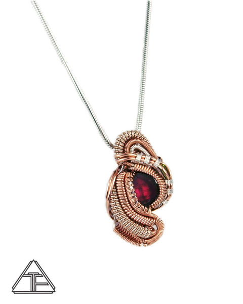 Watermelon Tourmaline Silver and Rose Gold Wire Wrapped Pendant