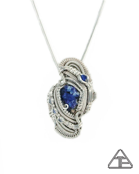 Paraiba Apatite Blue Spinel Sterling Silver Wire Wrapped Pendant