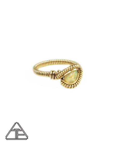 Size 4 - Opal and Yellow Gold Wire Wrapped Ring