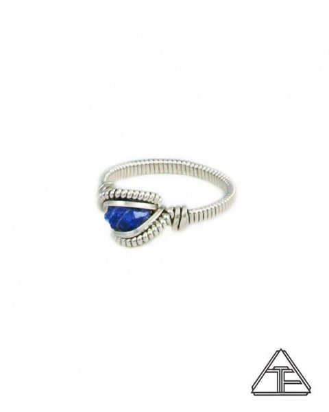 Size 5 - Blue Spinel and Sterling Silver Wire Wrapped Ring