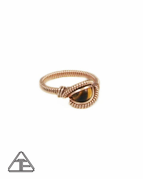 Size 5 - Tigers Eye and Rose Gold Wire Wrapped Ring