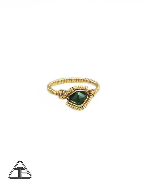 Size 6 - Tourmaline and Yellow Gold Wire Wrapped Ring