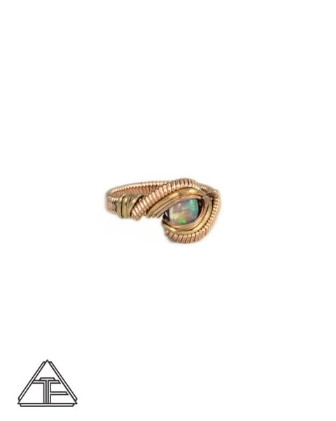 Size 7 - Opal Rose and Yellow Gold Wire Wrapped Ring