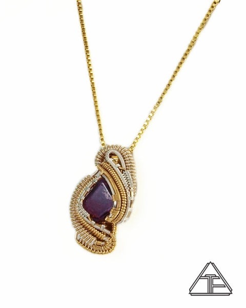 Amethyst Yellow Gold and Silver Wire Wrapped Pendant
