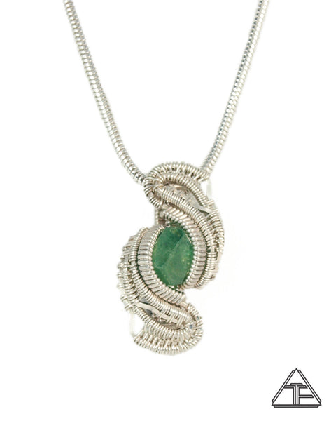 Demantoid Garnet Sterling Silver Wire Wrapped Pendant