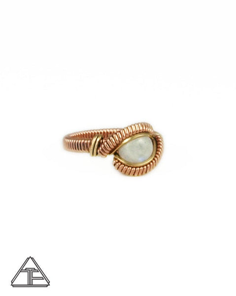 Size 6.5 - Moonstone Rose and Yellow Gold Wire Wrapped Ring