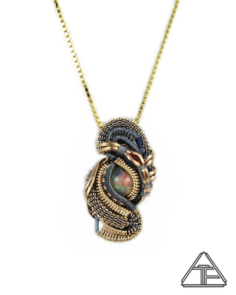 Opal Garnet Yellow Gold and Titanium Wire Wrapped Pendant