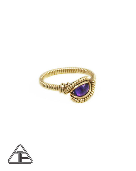 Size 5.5 - Amethyst and Yellow Gold Wire Wrapped Ring