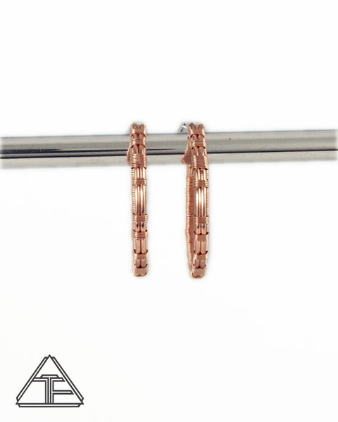 Rose Gold and Silver Hoop Wire Wrap Earrings